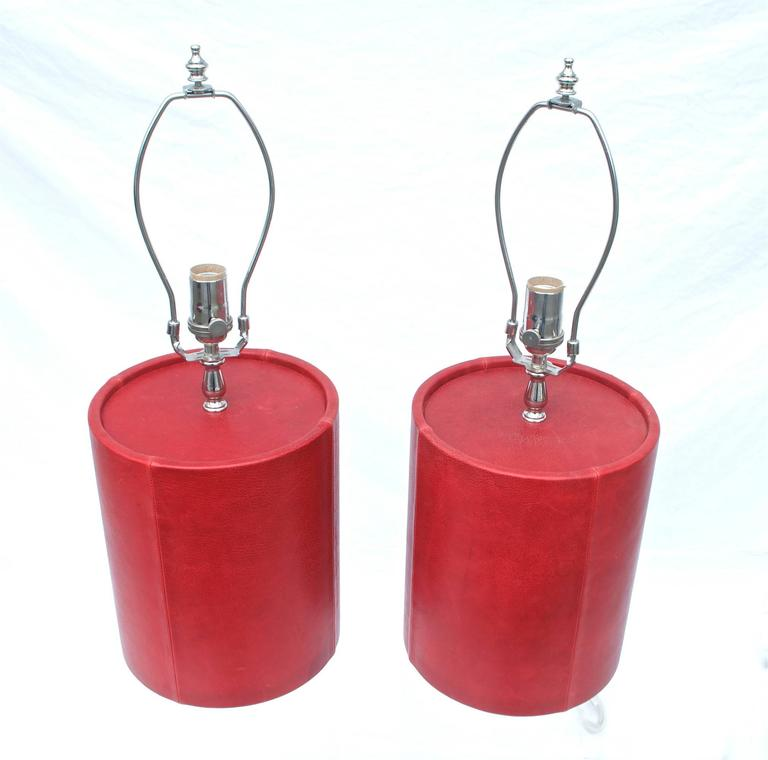 Leather Wrapped Cylinder Form Lamps In Oxblood For Sale At