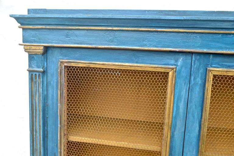 Italian Breakfront Cupboard in Mediterranean Blue Painted Finish In Good Condition For Sale In Charlottesville, VA