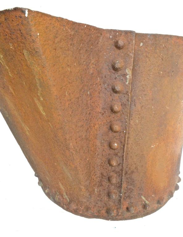 Cast Industrial Planter with Beaded Detail For Sale