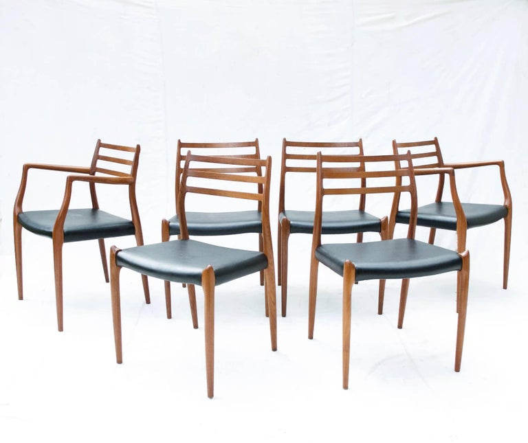 N.O. Moller Dining Chairs in Teak, Set of Six In Good Condition For Sale In Charlottesville, VA