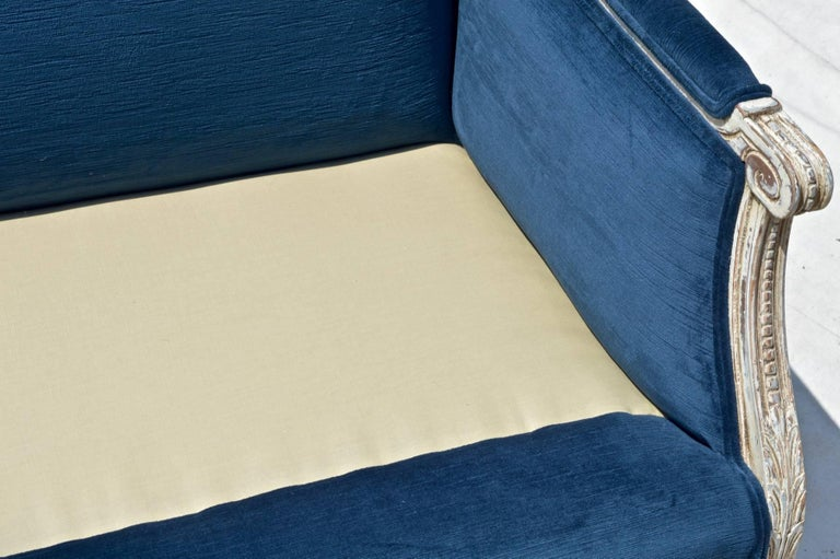 French Settees in Navy Velvet, Pair For Sale 3