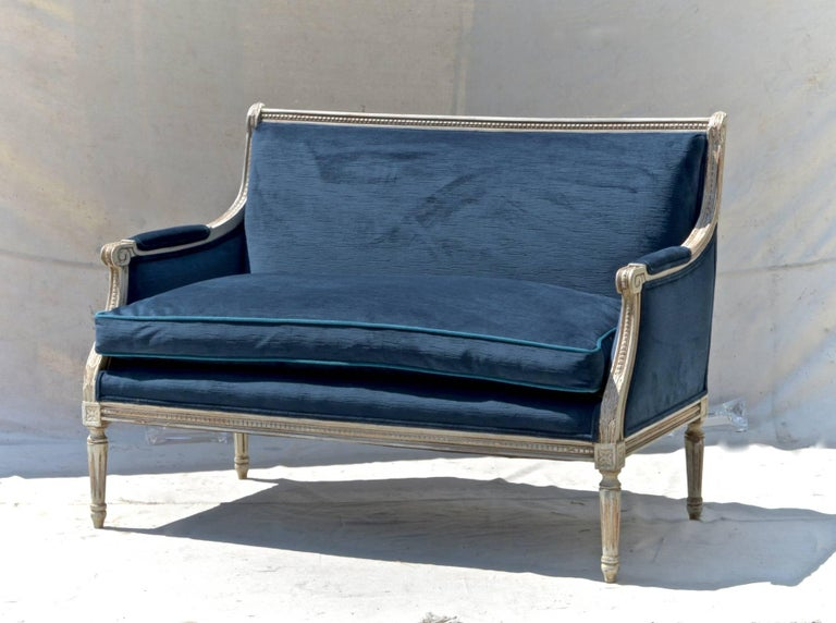 Hand-Crafted French Settees in Navy Velvet, Pair For Sale