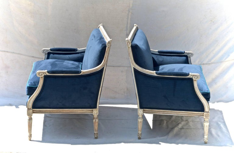 Louis XVI French Settees in Navy Velvet, Pair For Sale