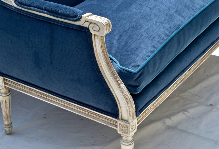 French Settees in Navy Velvet, Pair For Sale 1