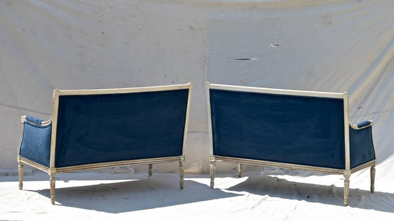 French Settees in Navy Velvet, Pair For Sale 2
