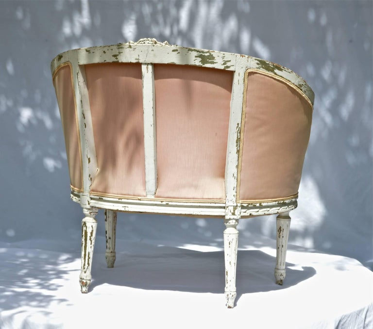19th Century Louis XVI Painted Marquise or Corbeille Canapé 8
