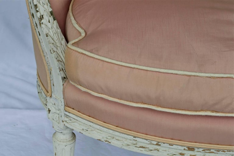19th Century Louis XVI Painted Marquise or Corbeille Canapé 6