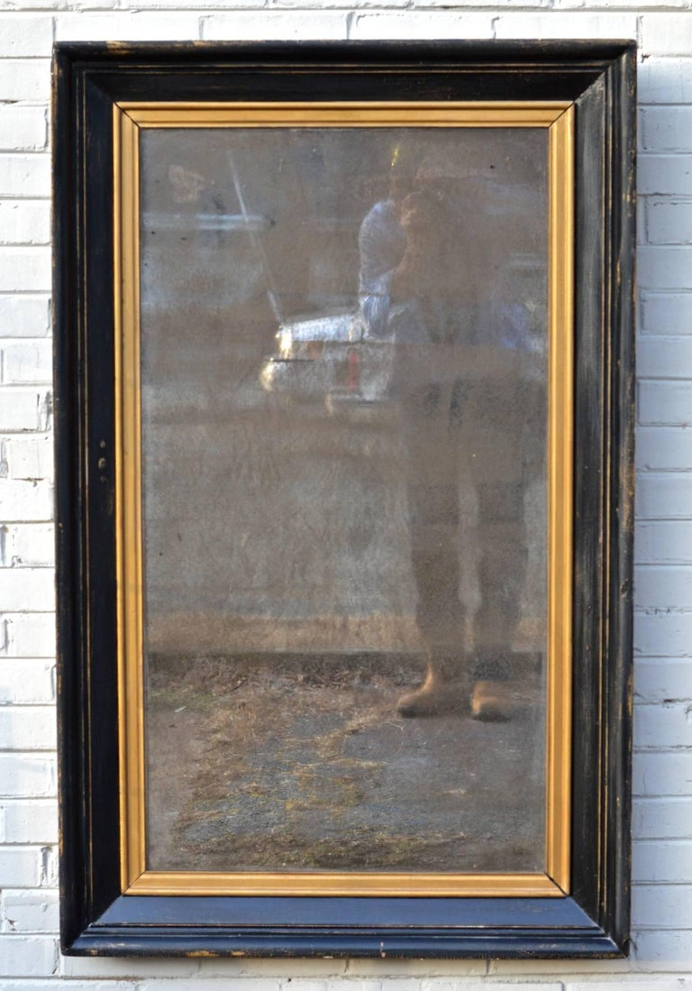 A Late 19th Century American Mirror With Vintage Ebonized Finish And Heavily Patinated