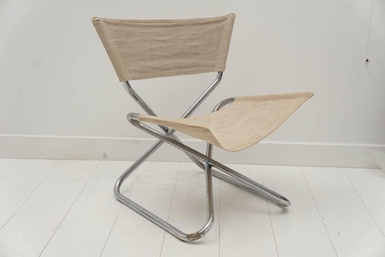 Vintage Polished Chrome Tubular Folding Chair For Sale at 1stdibs
