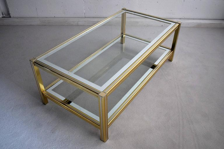 French Hollywood Regency Brass and Chrome Coffee Table For Sale