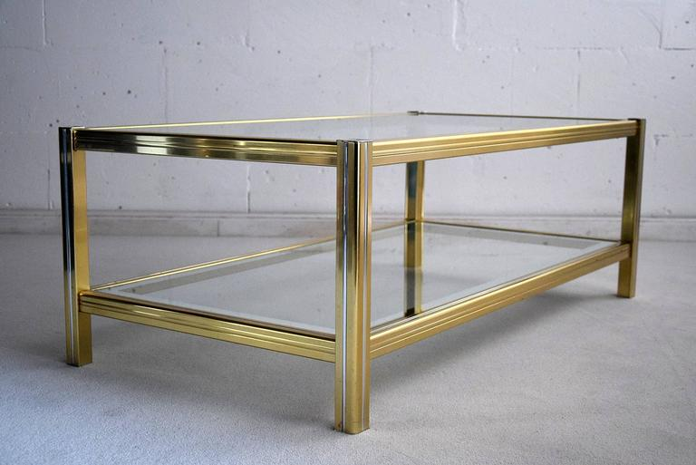Late 20th Century Hollywood Regency Brass and Chrome Coffee Table For Sale