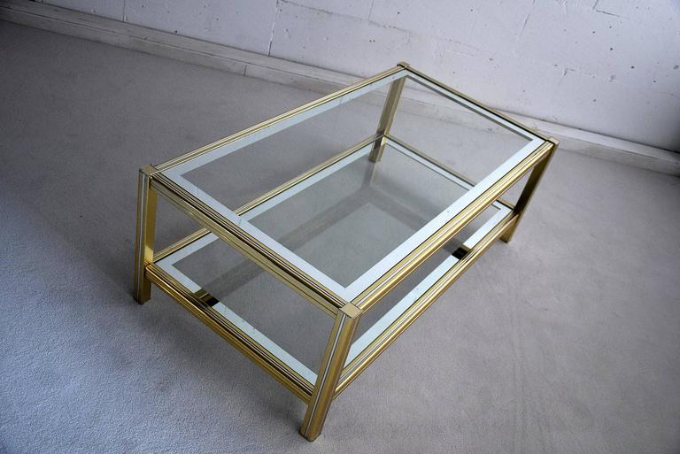 Hollywood Regency Brass and Chrome Coffee Table For Sale 3