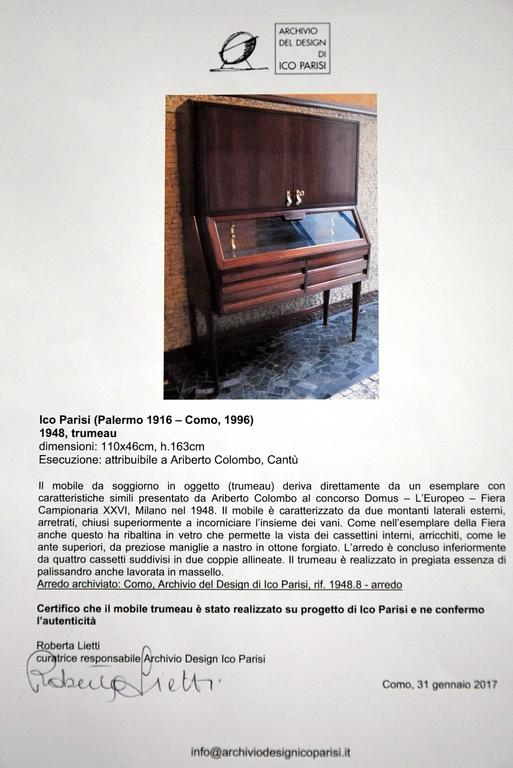 Ico Parisi Mid Century Modern Rosewood Credenza For Sale 2