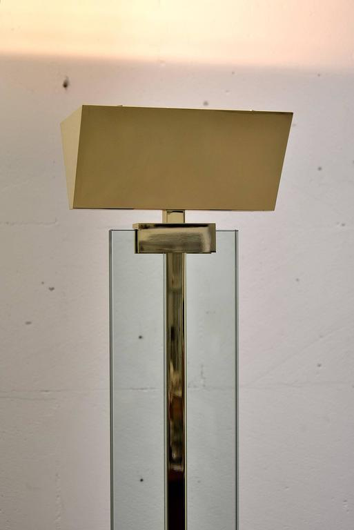 Brass And Glass 1980s Fratelli Martini Floor Lamp At 1stdibs