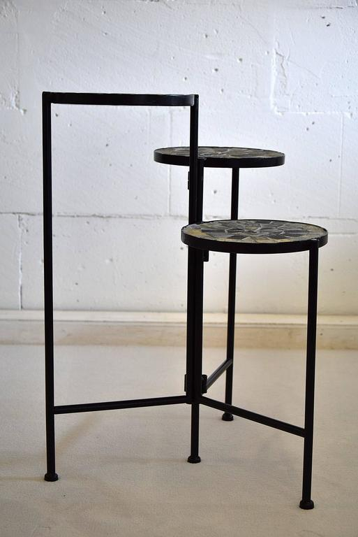 Dutch Mid-Century Modern plant stand Very stylish and typical 1960's metal and mosaic plant stand in great condition.  Each of the three tiers has a diameter of 22 cm heights od 60, 51 and 41 cm.  Plant stand will be shipped abroad in a custom-made