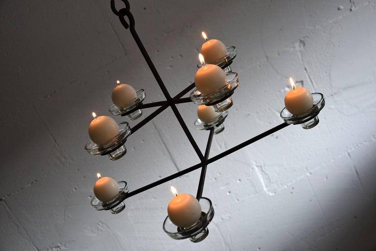 Glass Scandinavian Mid-Century Modern Chandelier Erik Hoglund Attributed For Sale