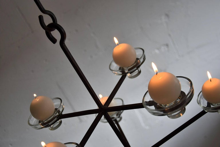 Mid-20th Century Scandinavian Mid-Century Modern Chandelier Erik Hoglund Attributed For Sale