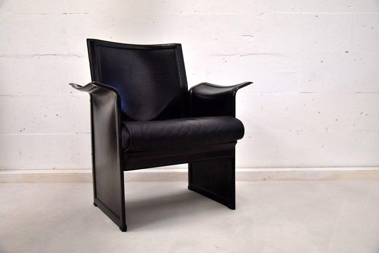 Italian Tito Agnoli Korium Leather Armchair for Matteo Grassi For Sale