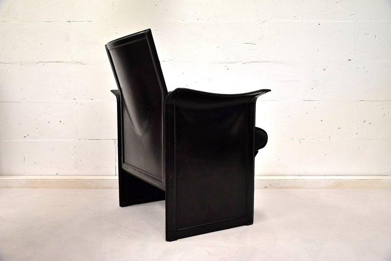 Late 20th Century Tito Agnoli Korium Leather Armchair for Matteo Grassi For Sale