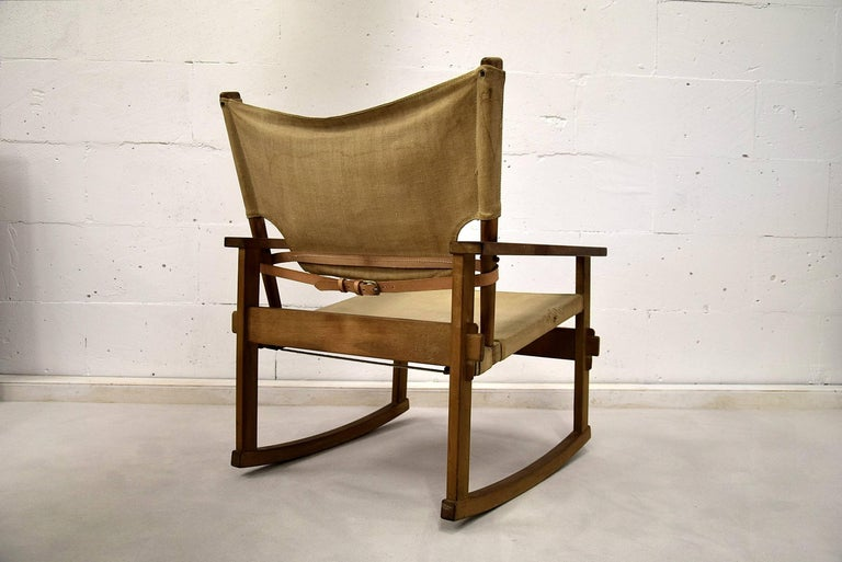 Mid-20th Century Rare Mid Century modern Poul Hundevad Rocking Chair For Sale