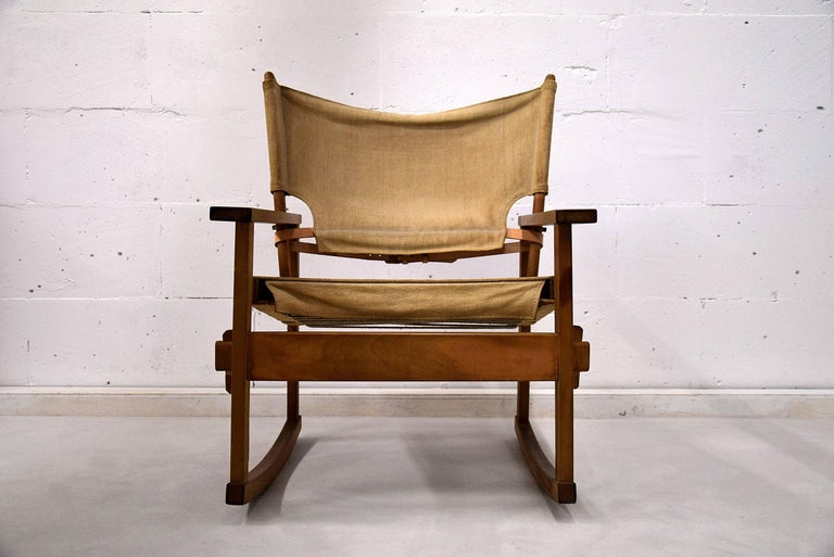 Rare Mid Century modern Poul Hundevad Rocking Chair For Sale 2