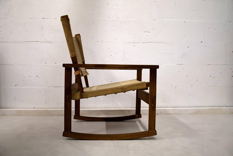 Poul Hundevad rare mid century modern rocking chair Extremely rare oak and canvas 1950s safari rocking chair by Poul Hundevad. A true beauty and as far as I know, it is the only rocking chair of this model for sale anywhere in the world. This museum