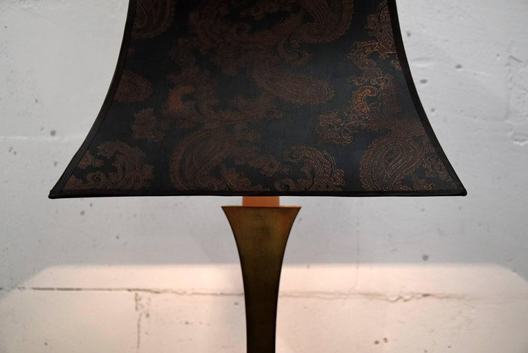 Brass Mid century Modern Maison Jansen table lamp.  Sophisticated Maison Jansen brass lamp with beautiful patina produced in France in the 1960s.  The cashmere design shade is included.  Measurements : H 82 x W 41 x D 41 cm.  Lamp will be shipped