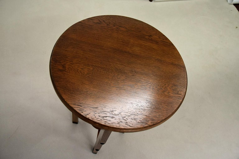 Early 20th Century Art Deco Oak Side Table For Sale