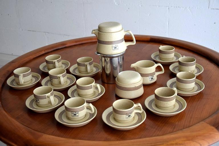 Late 1960s Ceramic Espresso Set, 15 Pieces, by Franco Pozzi For Sale 5