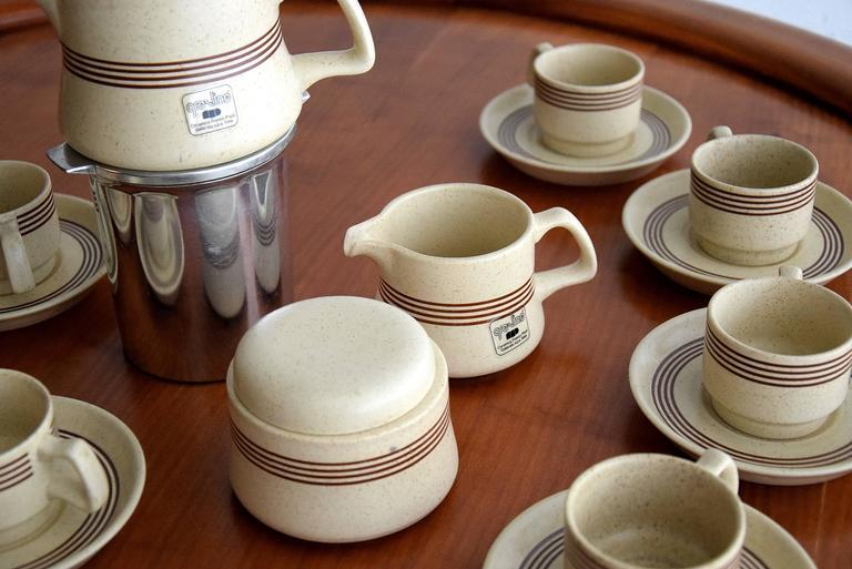 Late 1960s Ceramic Espresso Set, 15 Pieces, by Franco Pozzi For Sale 3