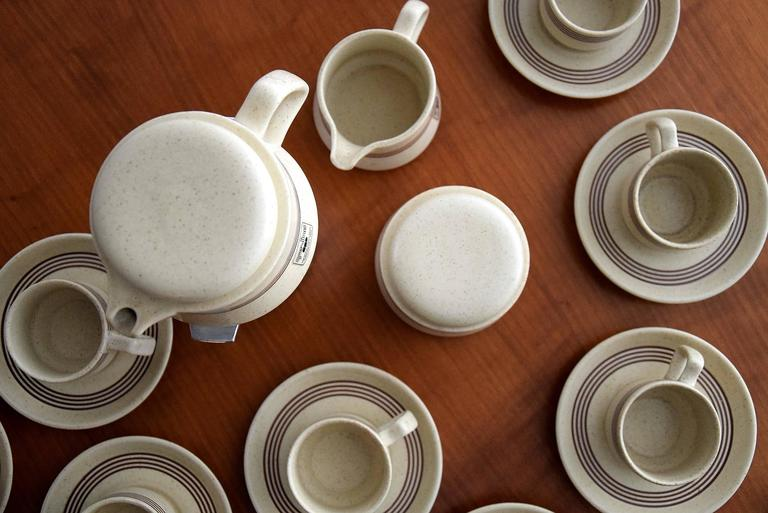 Late 1960s Ceramic Espresso Set, 15 Pieces, by Franco Pozzi In Excellent Condition For Sale In Weesp, NL
