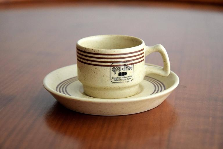 Italian Late 1960s Ceramic Espresso Set, 15 Pieces, by Franco Pozzi For Sale