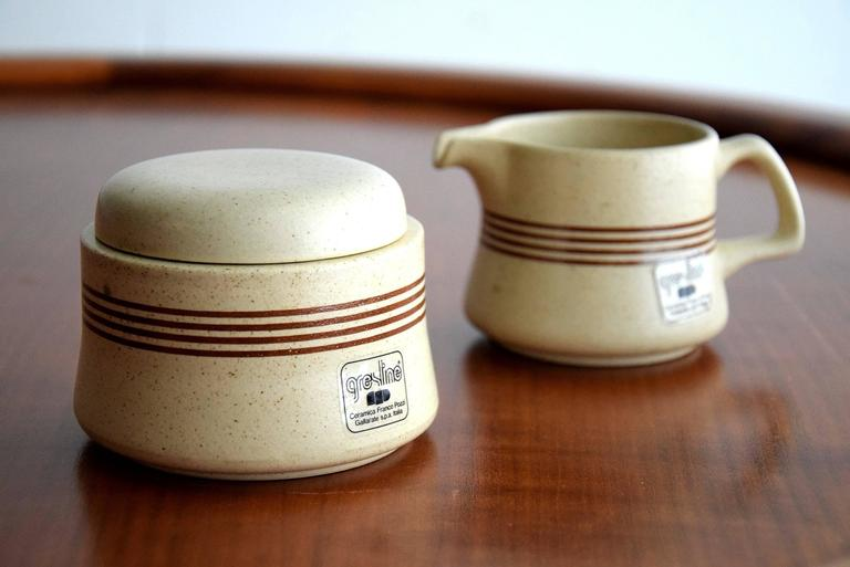 Mid-20th Century Late 1960s Ceramic Espresso Set, 15 Pieces, by Franco Pozzi For Sale