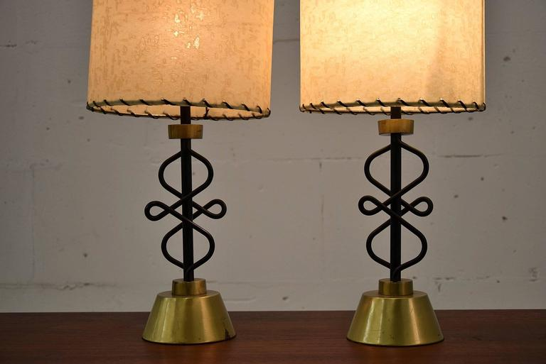 Mid-20th Century Two 1950s Table Lamps by Majestic, New York For Sale