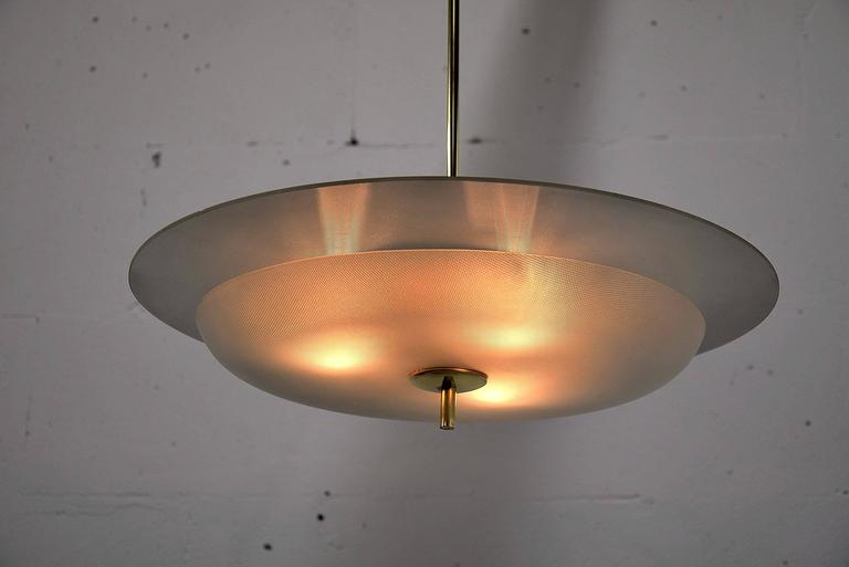 Fontana Arte Attributed Mid Century Modern Chandelier For Sale 1