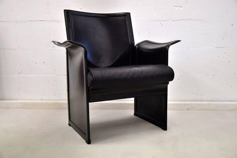 Tito Agnoli Korium Leather Armchair for Matteo Grassi For Sale 2
