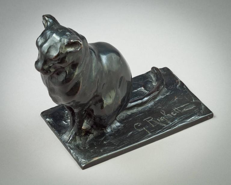 Bronze cat sculpture, Guido Righetti, circa 1925.  Engraved G. Righetti.
