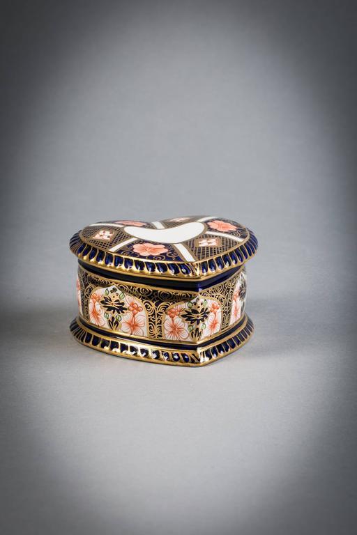 Royal crown derby heart-shaped box, circa 1910.  Japan pattern.