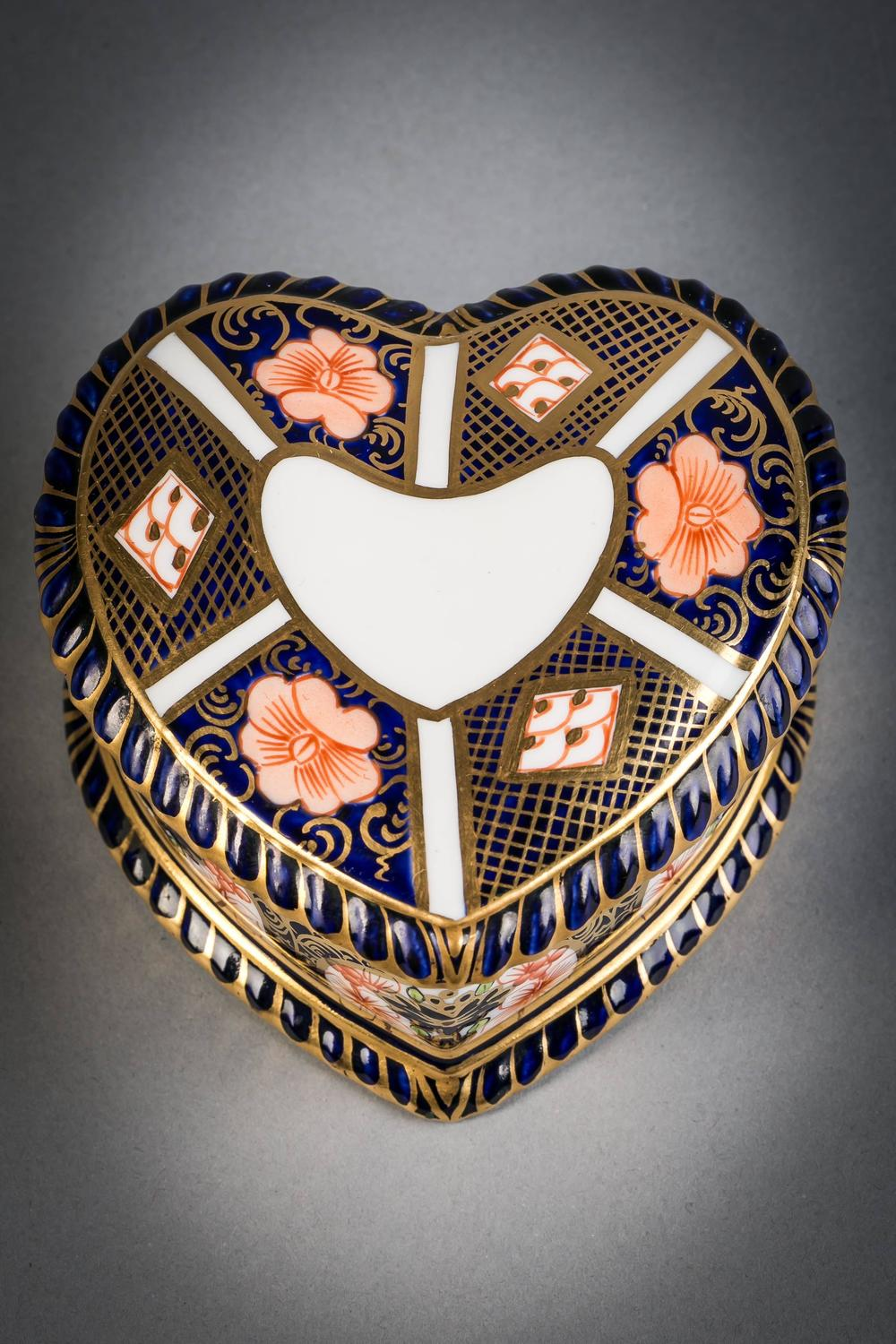 Royal Crown Derby Heart Shaped Box circa 1910 For Sale at