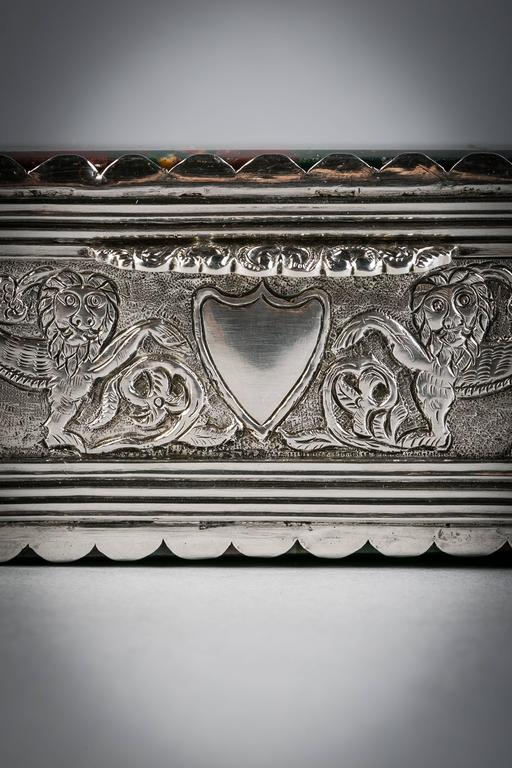 Continental Silver and Agate Box, circa 1870 In Good Condition For Sale In New York, NY