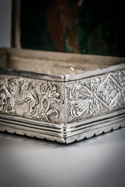 19th Century Continental Silver and Agate Box, circa 1870 For Sale