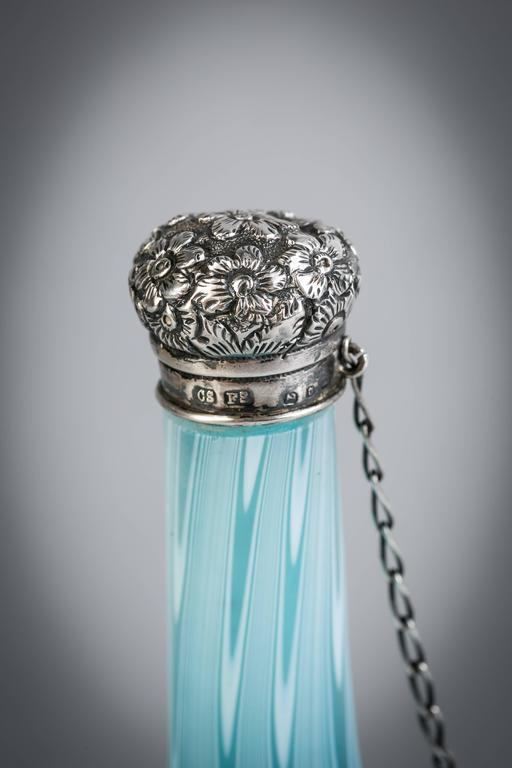 Late 19th Century English Silver-Mounted Swirled Glass Perfume Bottle  For Sale