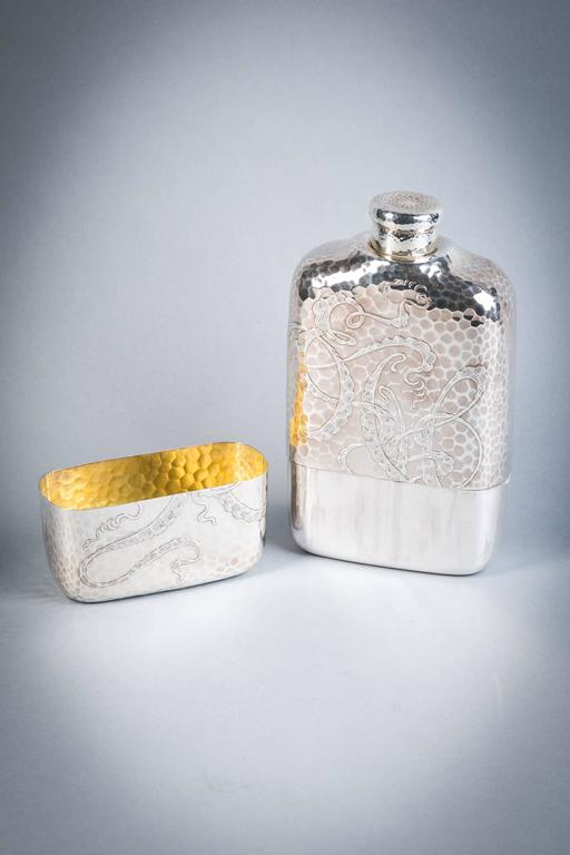 American Tiffany and Co. Sterling Silver Flask, 1883-1891 For Sale