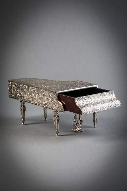 20th Century English Silver Piano, Form Jewelry Box For Sale