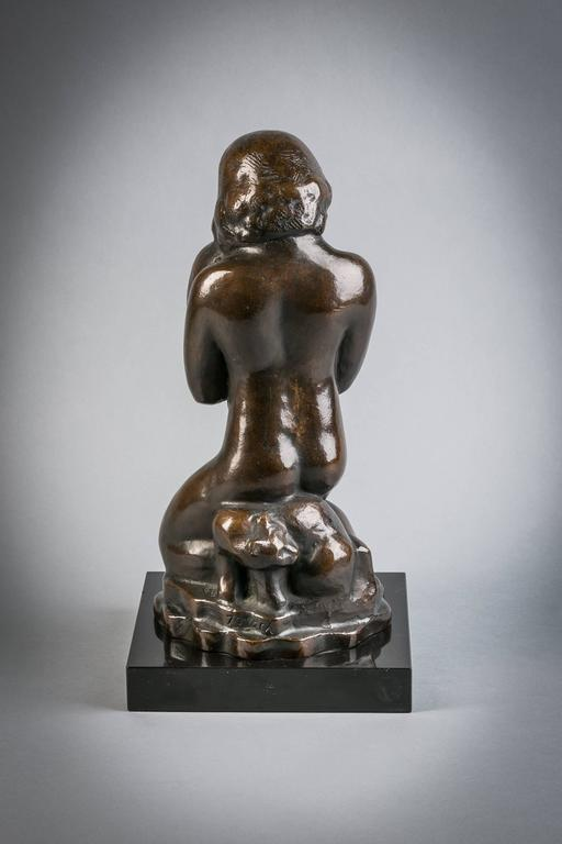 American bronze girl with cats, signed William Zorach with copyright WZ mark, circa 1920.