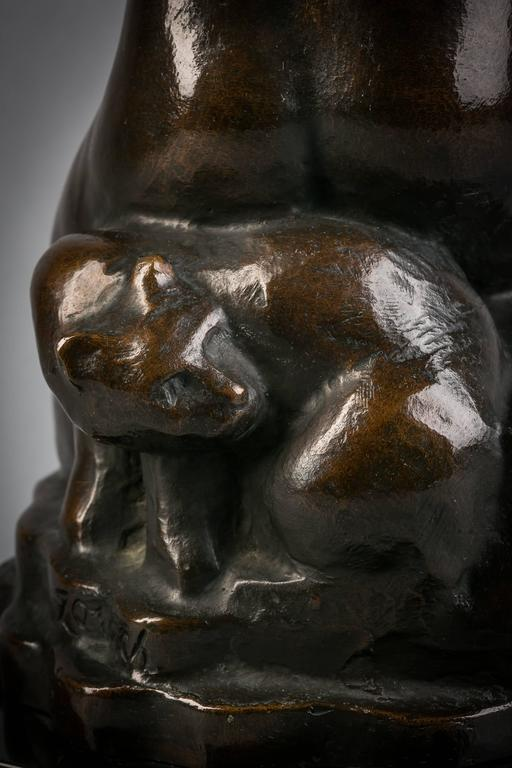 American Bronze Girl with Cats, William Zorach, circa 1920 In Excellent Condition For Sale In New York, NY
