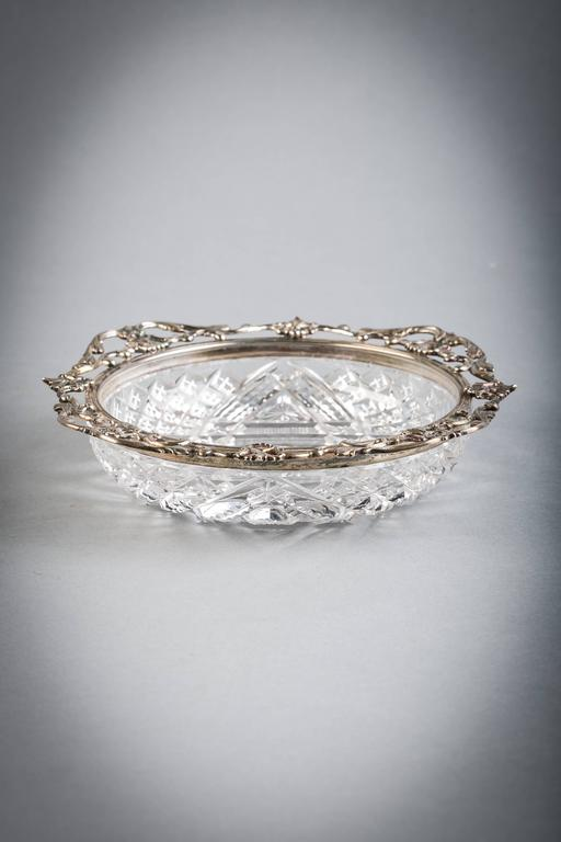 Sterling Silver and Brilliant Cut Crystal Dish, Gorham, circa 1910 In Good Condition For Sale In New York, NY