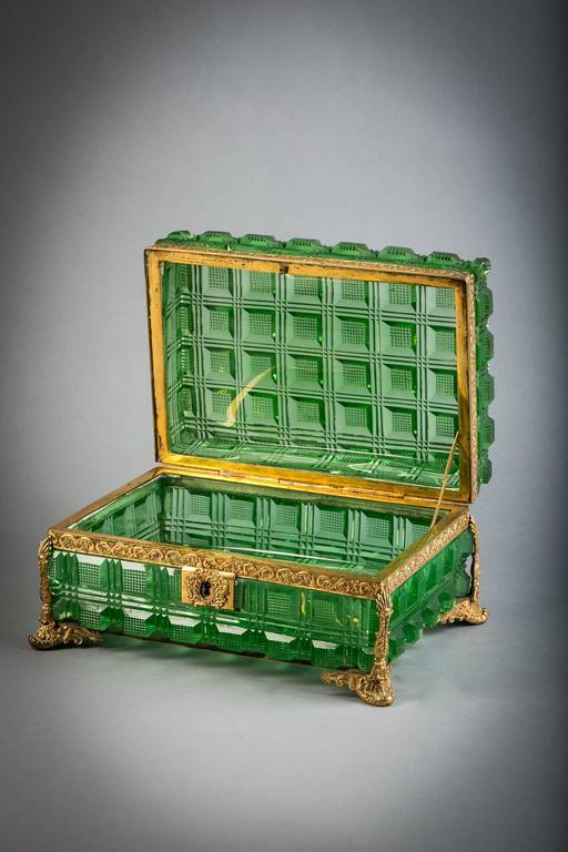 Large bronze and green glass box, Russian, circa 1825.