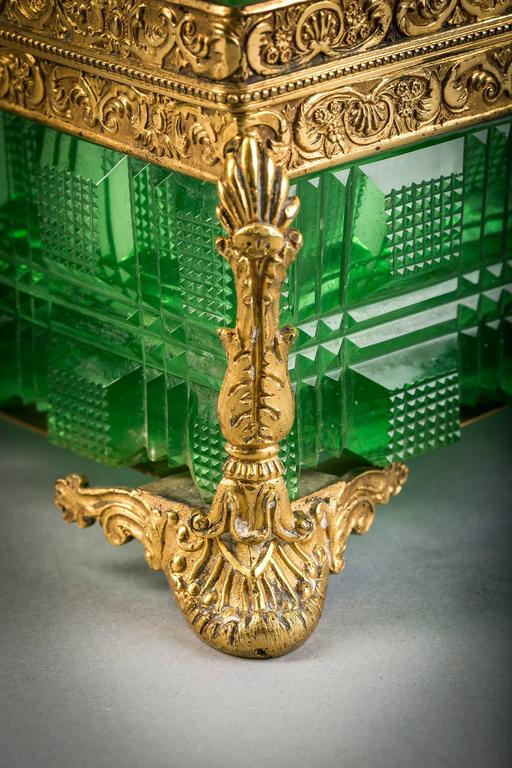 Early 19th Century Large Bronze and Green Glass Box, Russian, circa 1825 For Sale