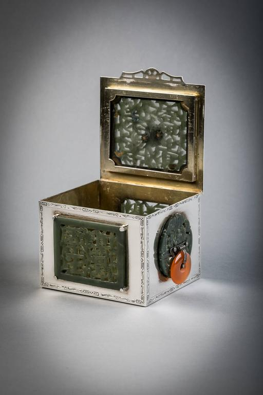 Sterling silver and jade box, Farmer, circa 1920.  Marked: Edward Farmer.